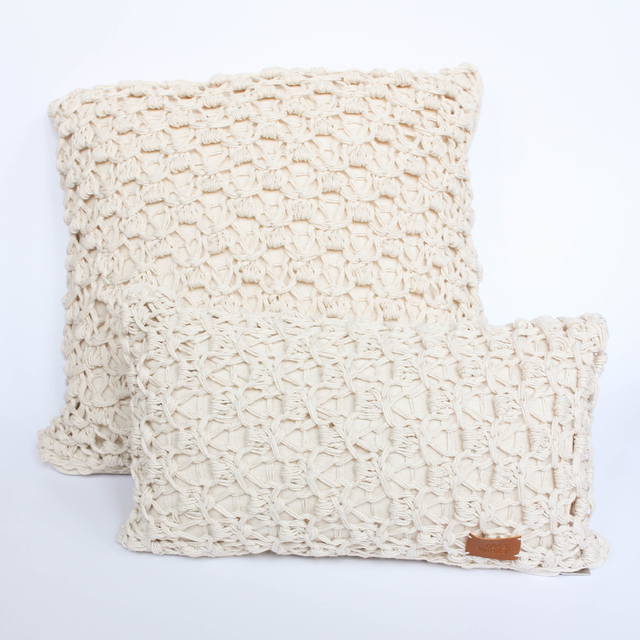 Medium Origami Cushion, ecru eyelet stitch - buy online