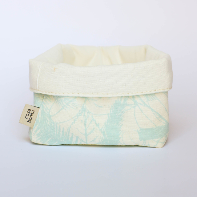 Small Basket, ecru with light blue palm trees