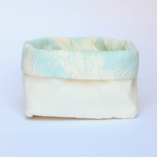 Small Basket, ecru with light blue palm trees - buy online