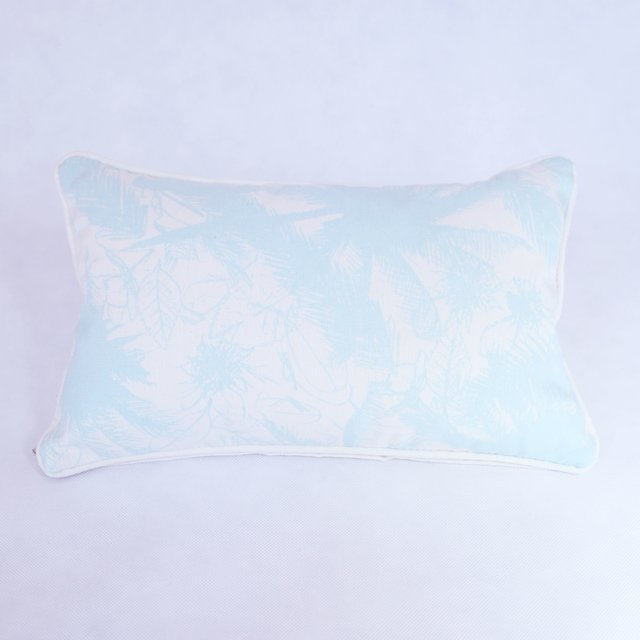 Amatista Cushion, ecru with light blue palm trees