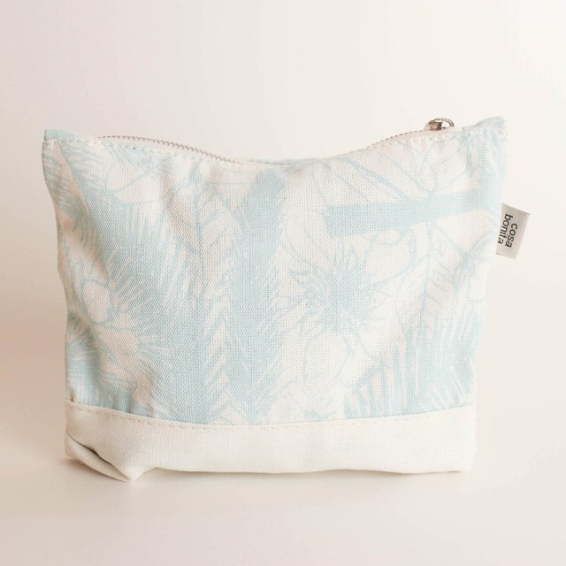 Petra Pouch, ecru with light blue palm trees