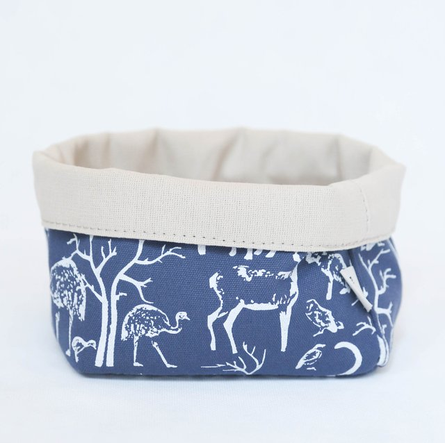 Small Basket, blue with white animals