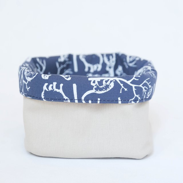 Small Basket, blue with white animals - buy online