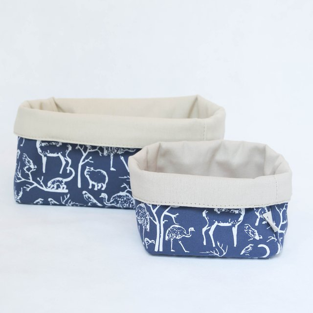 Small Basket, blue with white animals on internet