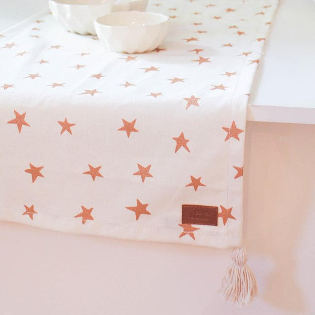 Table Runner, ecru with cooper stars - buy online