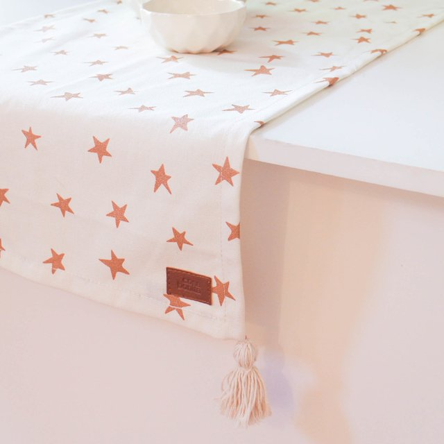 Table Runner, ecru with cooper stars on internet
