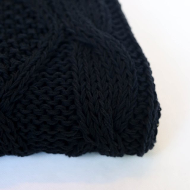 Minsk Throw, black cable stitch on internet