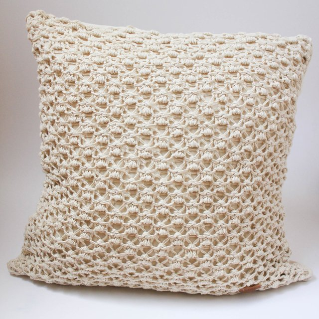 Tall Origami Cushion, ecru eyelet stitch
