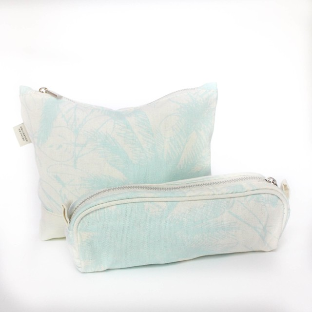 Petra Pouch, ecru with light blue palm trees - buy online