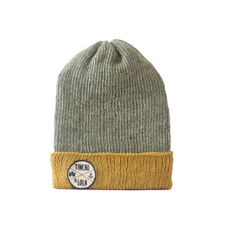 Grey and Yellow Woolen Beanie on internet
