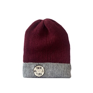 Bordeaux and Grey Woolen Beanie - buy online