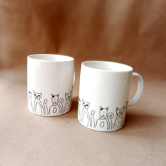 Taza Black & White Gatos