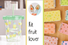 kit fruit lover - Vaso pitillo + Clips + Mini libreta