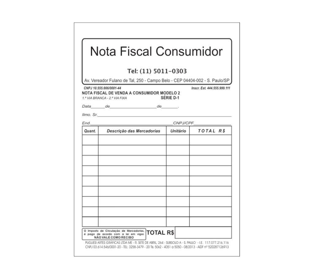 Nota Fiscal De Venda A Consumidor Modelo 2 Série D 1