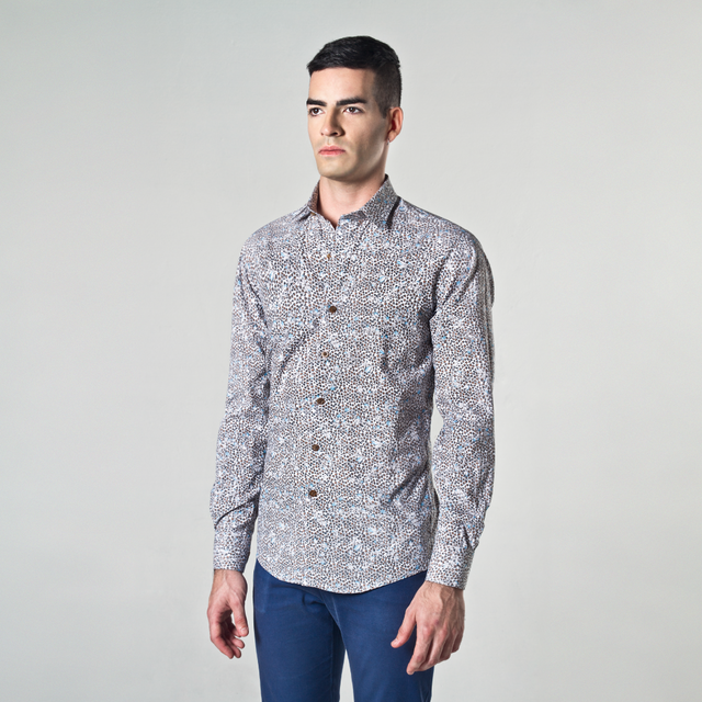Camisa India. Estampado liberty ocre y celeste.