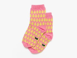 3/4 length basic socks - lime droplets