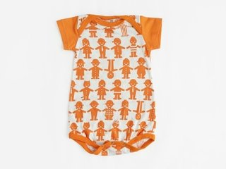 short sleeved bodysuit - orange friends