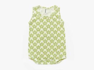 baby sleeveless bodysuit - light olive pansy