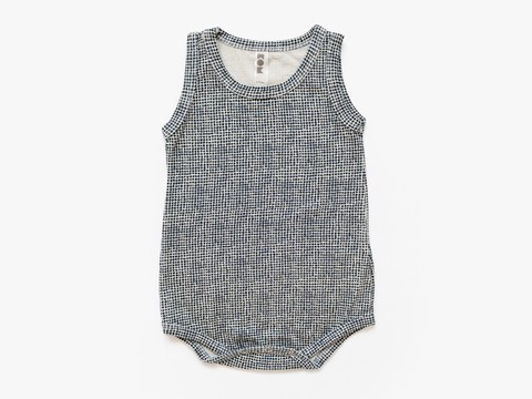baby sleeveless bodysuit - indigo net
