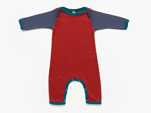 baby long sleeved bodysuit - cinnamon colour blocks
