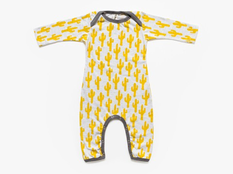 baby long sleeved bodysuit - yellow cacti