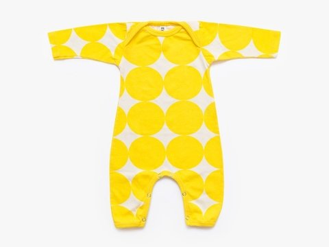 baby long sleeved bodysuit - yellow big circles