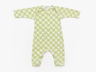 baby long sleeved bodysuit - light olive pansy