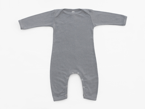 baby long sleeved bodysuit - solid gray