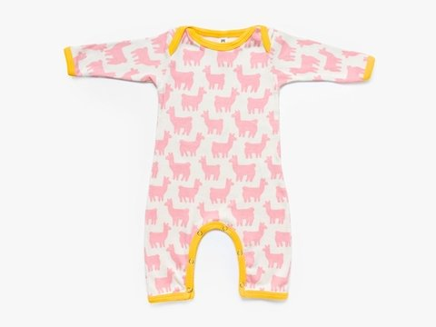 baby long sleeved bodysuit -  pink lama