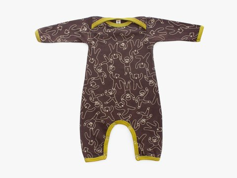 baby long sleeved bodysuit - bears and children chocolate