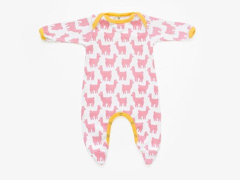 baby long sleeved bodysuit - newborn - pink lama