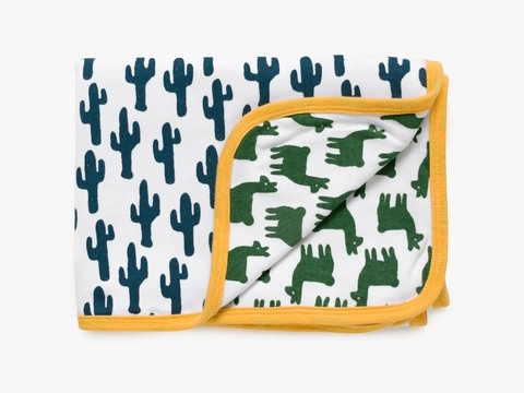 reversible blanket - green lama