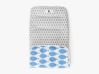 reversible stroller liner - sky blue fish