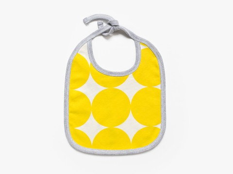 reversible baby bib - yellow big circles