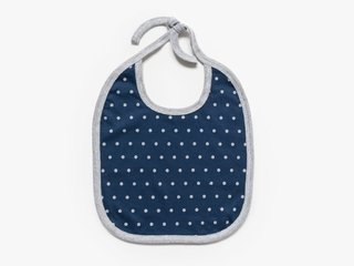 reversible baby bib - cement microdots / navy