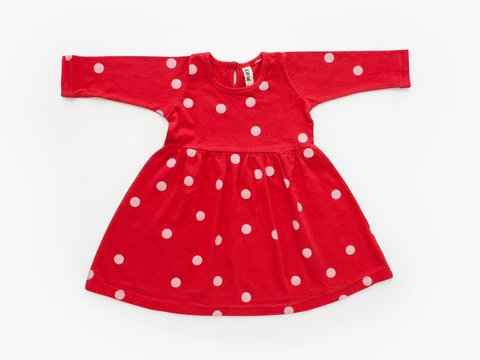 baby dress - pink dots