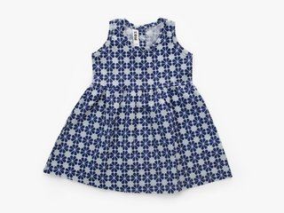 sleeveless voile dress - blue japanese flower