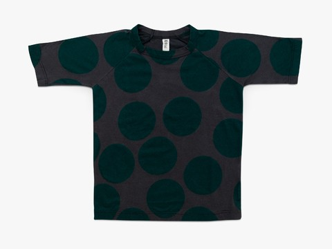 oversized t-shirt - dark green giant dots