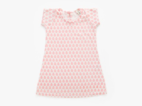 A baby dress - pink droplets