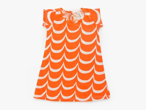 A baby dress - orange waves