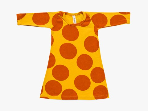 baby A line dress -  cinnamon giant dots