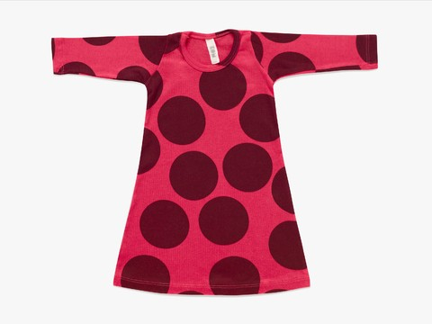 baby A line dress -  raspberry giant dots