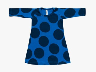 baby A line dress -  indigo giant dots