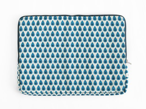 notebook sleeve - turquoise drops