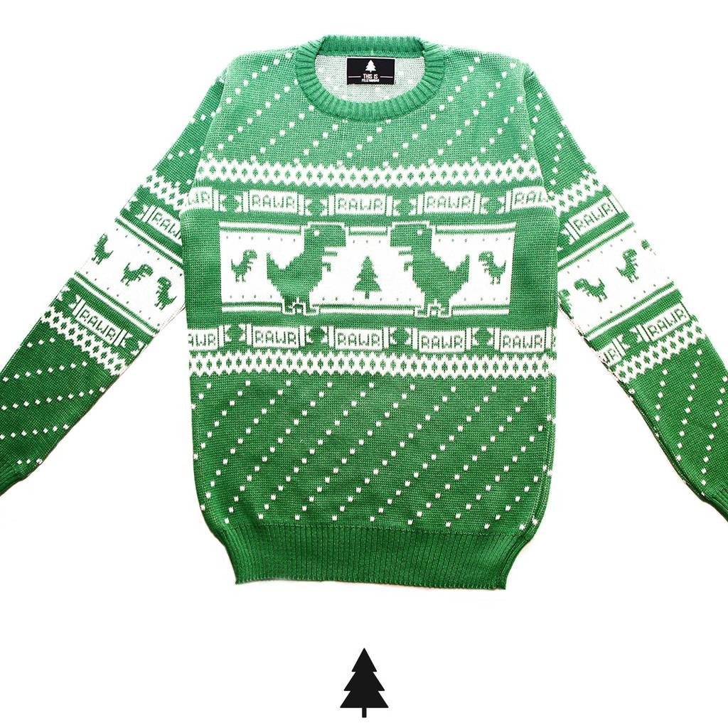 1334ecf051d9bc Offline Dino Sweater (Green) - This Is Feliz Navidad