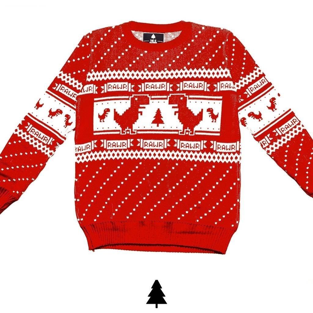 c8da3069cd3e2f Offline Dino Sweater (Red) - This Is Feliz Navidad