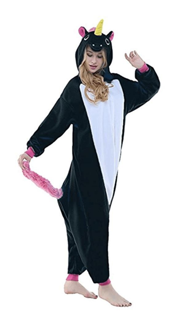 Pijama Kigurumi  Blanco y Negro de Unicornio