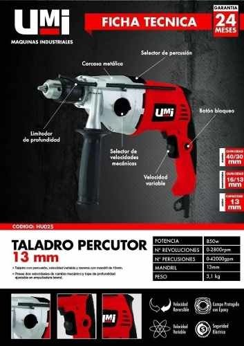 Taladro Percutor Umi Mandril 13 Mm 850w Hu025 Industrial - buy online