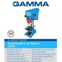 Taladro De Banco 13mm Gamma Perforadora Agujereadora 350w