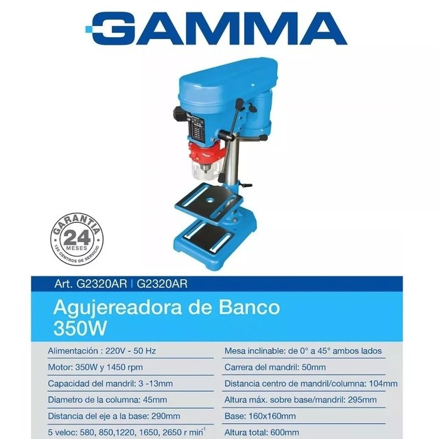 Taladro De Banco 13mm Gamma Perforadora Agujereadora 350w - buy online